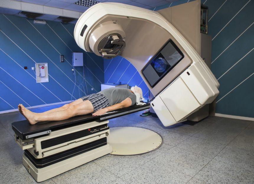 Man undergoing radiation treatment
