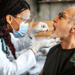 A patient undergoes genetic testing.