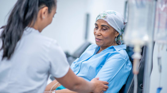 Patient undergoing chemotherapy.